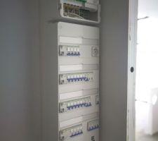 Tableau électrique terminé - Schneider + Coffret COM réseau - Lexcom Home de chez Schneider aussi.