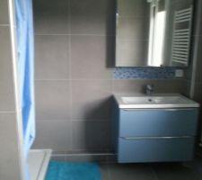 1 salle de bain terminée. Reste 1 colonne de rangement.