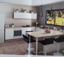 Cuisine SOCOO'C ,facades blanc coco brillant et plan de travail chene vintage ,poignees lexia