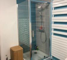 Salle de bain, pose des stickers électrostatiques