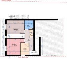 R-2 : L'étage des enfants avec 2 chambres, SdB et bureau