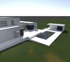 Vue de synthèse non travaillée par l'architecte pour donner une idée de l'implantation du pool house