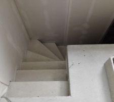 Pose fermacell descente sous-sol côté cuisine
