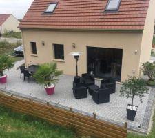 Terrasse de 10M en pavés Granit