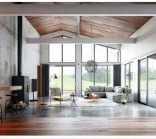 Voici notre idée de départ pour notre salon / séjour : du beau volume, ambiance béton et bois, sol mur et plafond. <br /> J'ai totalement craqué pour ce style intemporel, chic et ultra moderne.