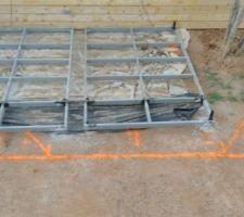 Démontage de la terrasse et premier traçage au sol