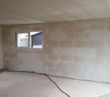 Vue intérieure des murs de briques platrés