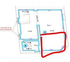 Plan de l'étage (en rouge j'aimerais créer un studio de 15-16m avec accès via L'escalier de l'immeuble)