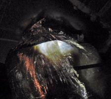 Lumière extérieure qui traverse la gaine algaine de l'entrée d'air double flux. Pas cool !
