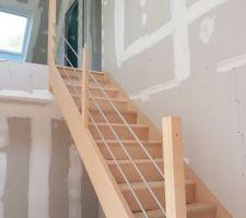 Pose de l'escalier...