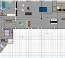 """Voici le dernier plan.  Nous avons eu beaucoup de bonnes idées de la part des contributeurs du forum """"plans de maisons"""", comme cette entrée vitrée sur le pignon sud. Les grandes lignes sont là, des petites modifications auront certainement encore lieu."""