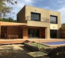 Piscine bois et terrasses en bois terminées