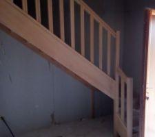 Aujourd'hui pose de l'escalier et quelques finitions du plaquiste et du menuisier