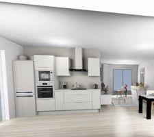Plan de la cuisine en 3D   J?ai craqué finalement pour le béton blanc