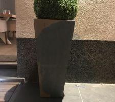 On décore avec des pots en acier et des boules de buis