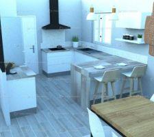 Rendu 3D de la cuisine avec la crédence