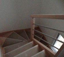 Escalier en hêtre , modèle île Batz- Barres inox 21mms Entreprise Potier - Rieux 56