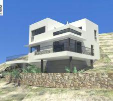 Projet quasi final : il n'y aura pas de pilotis, les terrasses seront faites sur remblais compactés provenant en grande partie du terrassement.
