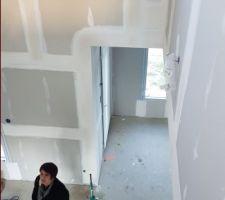 Vue sur le salon a l'emplacement du futur escalier