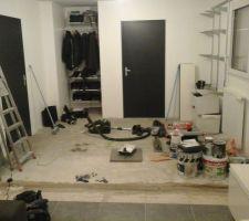 Destruction de la cloison pour agrandissement du salon