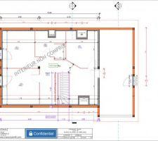 4 chambres, sdb + wc, mezzanine ouverte autour de l'escalier (coin lecture à gauche de l'escalier et coin tv coté velux)