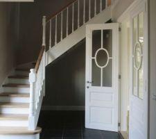 Futur escalier Style cottage en chene avec palier laqué blanc + bois