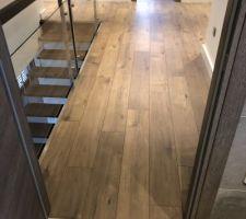 Couloir en haut ! Devant le seuil de porte alu qui sépare le parquet du carrelage imitation bois de la salle de bain.