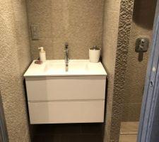 La salle de bain amis se compose d?un meuble vasque blanc et d?une fouche italienne ! Nous avons craqués sur cette faïence structuré qui a aussi été un calvaire pour notre carreleur et encore pour le porte monnaie car il a fallut recommander deux fois du réassort ! Il manque aussi le miroir