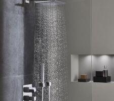 Salle d'Eau RDC (suite parentale) Grohe 34506000 Grohtherm Cube Le pied de la douche de tête sera vertical, depuis le plafond