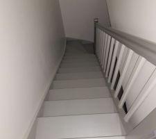 Escalier peint en gris bÃ?Æ?Ã?©ton et gris mÃ?Æ?Ã?©tal