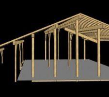 Travail du BE bois : vue 3D CadWork de la charpente, premier jet. vue de la façade ouest.