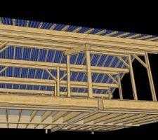 Travail du BE bois : vue 3D CadWork de la charpente, premier jet. vue de la façade sud.