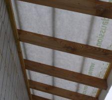 La charpente sur rapatrie couverte de la terrasse du R+1.