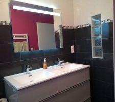 Salle de bain (miroir néon et antibuée)