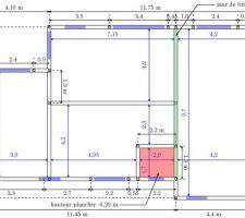 Plan du vide sanitaire avec le chainage vertical prévu