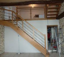 Cloison chaufferie et salon escalier posé