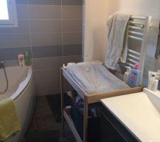 Salle de bain encombrée par la table à langer