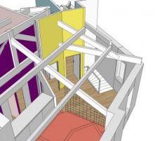 Vue haut escalier et 2 chambres