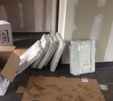 Enfin nous avons reçu nos radiateurs ainsi que notre chaudière. Donc le plombier va pouvoir installer.