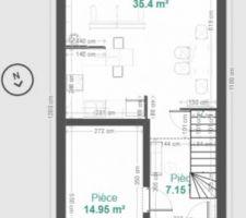 Rdc, garage semi intégré, toilette + lave main sous l'escalier