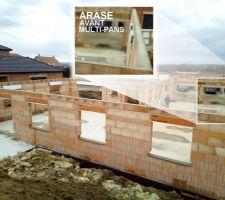 07-08/03/2018 - Jours 11-12 : Réalisation de l'arase sur le dernier rang de brique afin d'accueillir solidement la future charpente multi-pans