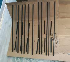 Projet Verrière : Etape mise en peinture des baguettes (parecloses)