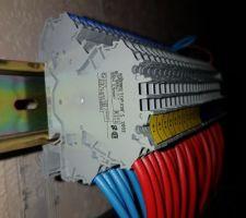 """Bornier wago 2002-2202 pour la connexion des disjoncteurs du tableau électrique vers l'armoire domotique. On voit en dessous les câbles qui partent vers les modules domotique et les circuits """"actionneurs"""""""