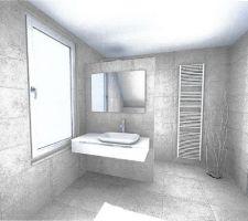3D de la salle de bain à l'étage