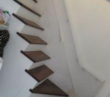Escalier en béton avec contremarche enduite et marche en bois