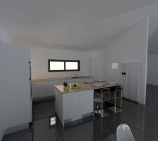 Perspective cuisine Le côté cuisson sera de l'autre côté à droite et le coin frigo et cellier à gauche
