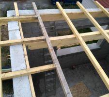 27-09-2017 Structure du toit mono-pente. Charpente traditionnelle en sapin du nord, comprenant: Pannes en 180 x 65 Sablière en 155 x 40 chevillés (Ø chevilles 8mm) Chevronnage en 65 x 40, espacement tous les 60cm. Plancher toit plat en panneau de particule (OSB*) 18mm. *OSB traité à coeur, ce renseignement à été contrôlé par le directeur d'agence TRECOBAT des Sorinères (44) en personne.