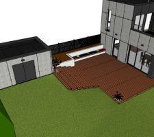 Voilà le projet imaginé et en cours (terrasse + abri de jardin), tout fait maison