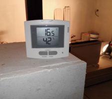 T°C et % après plusieurs jours de fonctionnement du déshumidificateur
