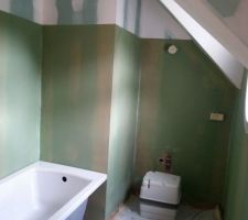 Préparation murs de la salle de bain : 2ème couche d'imperméabilisation et arrivée de la baignoire ;)